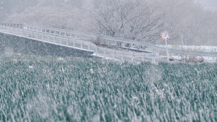 山の冬は万年雪