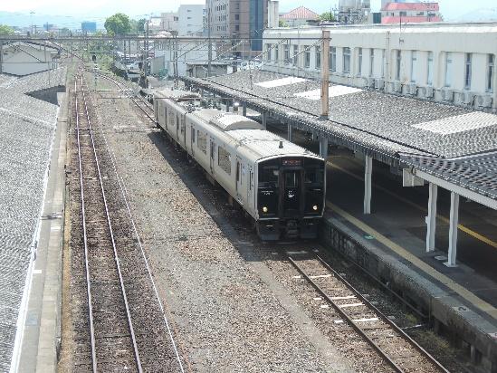 2014年5月都城駅、ここにC55型、C57型がいた。